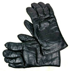 Coach  Black Leather Shearling Gloves Italy